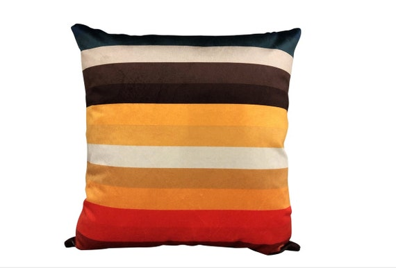 Contemporary Multi-Colored Striped Pillow