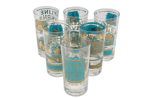 Mid century Hollywood Regency gold &  blue drinking glasses set of 5