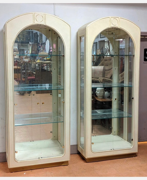Pair MASTERCRAFT Cream Brass Trim Display Cabinets. Modernist Vitrines.