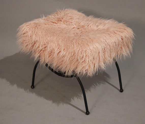 Curated pink faux fur on a mid-Century metal base ottoman 1970's.