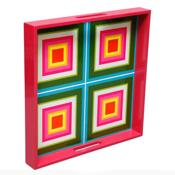 Contemporary lacquered wood tray with geometric pink & green squares design