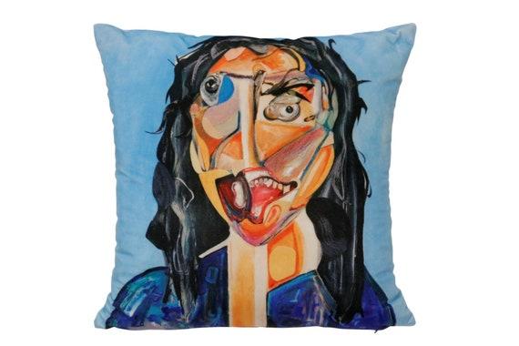 "Contemporary handmade velvet pillow by Artist ""Ryan Ostrowski"" 16 x 16 titled ""Frieda"""