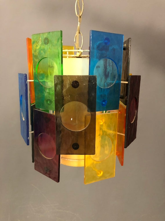 vintage multicolored Lucite chandelier