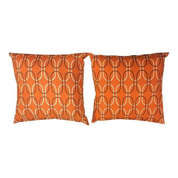 Pair of Retro Mid-Century geometric orange shapes pillows