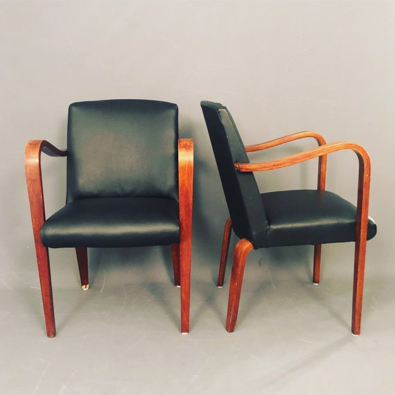 Pair of Mid-Century thonet chairs in black leather
