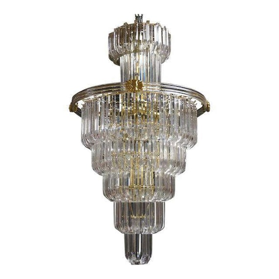 Modernist 7 Tier Lucite Chandelier Lucite Ring With Brass