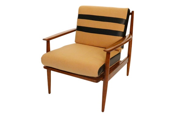 Curated Mid century danish arm chair with wool cushions 1970's Circa