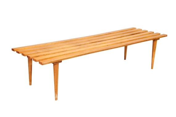 Mid century slats teak bench coffee table 1970s circa