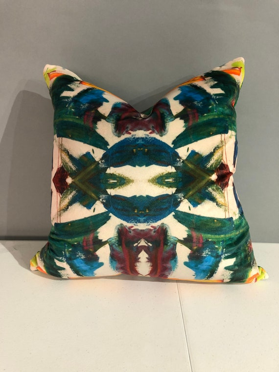 "Contemporary abstract kaleidoscope pillows with print on velvet with green velvet in the back 16"" x 16"" inches"