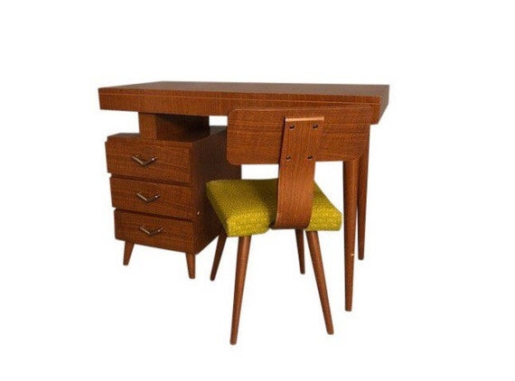 1960s Mid-Century Modern Walnut Writing Desk and Chair - 2