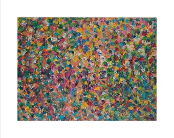 """Bruce Mishell - """"FloralTopia""""high-quality    Giclee Archival print 16"""" x 20"""" inches With white frame around the painting."""