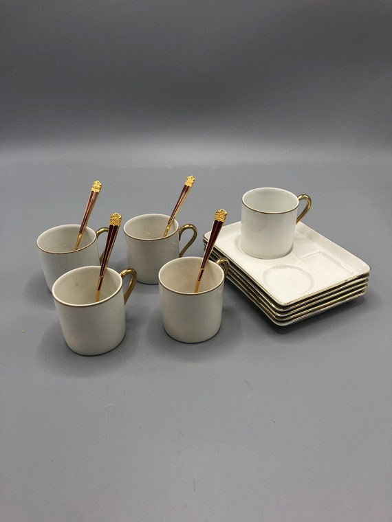Mid century coffee/tea set porcelain tray with espresso mugs and gold leaf spoons. Made in Czechoslovakia 1960's 5 trays 5 cups & 4 spoons.