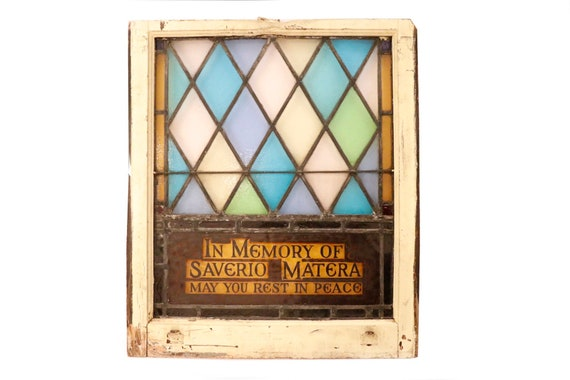 Antique stain glass panel with text (theres two)