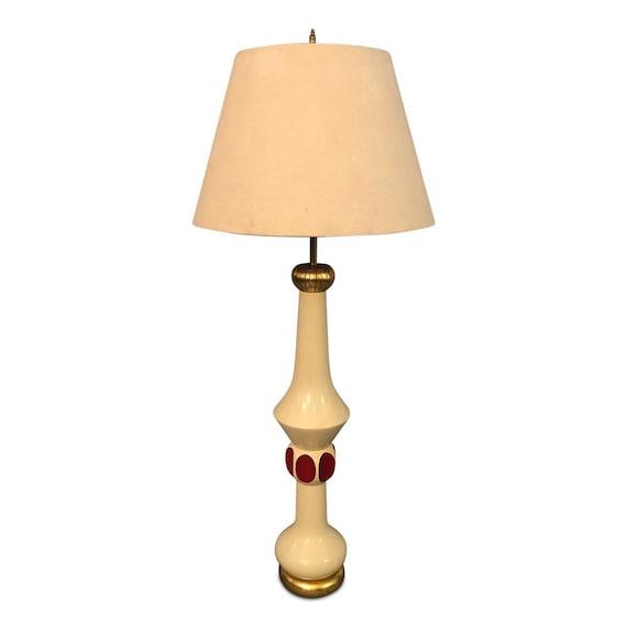 Mid-Century Italian tall mahogany accent table lamp with canvas shade