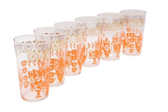 Mid century set of 6 drinking glass with orange print 1970's circa