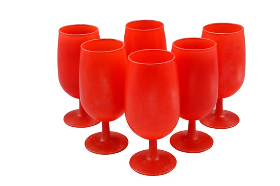 Mid-Century set of 6 wine glasses is bright red shade.  1960's Circa