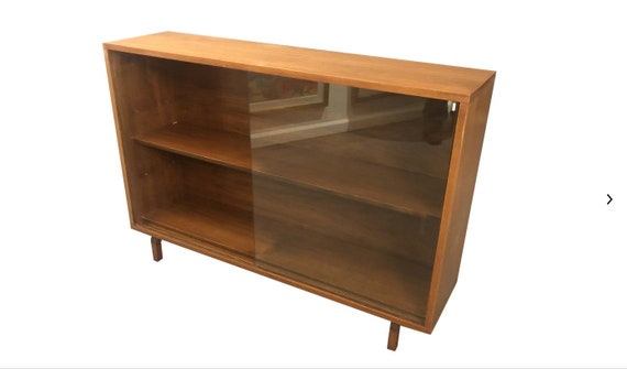 Mid-Century, Cabinet Small 2 Sliding Doors Storage, consolem, Scandinavian Design Small Cabinet