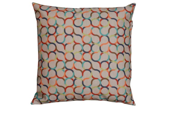 """Mid century Retro made to order multicolored geometric pillows made out of vinyl. 18x18"""" inches"""