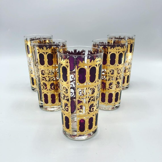 Mid century highball drinking glasses with 14K gold leaf and purple detail set of 6