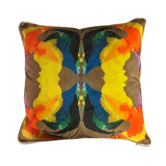 """Contemporary abstract kaleidoscope pillows with print on velvet both sides with white piping  16"""" x 16"""" inches"""