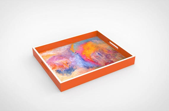 """Lacquer tray featured Artist Bruce Mishell titled """"The Other Side"""""""