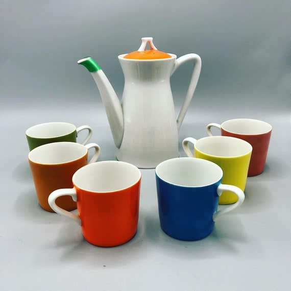 Mid century Lipper and mann creation japan porcelain carafe, mugs and plates
