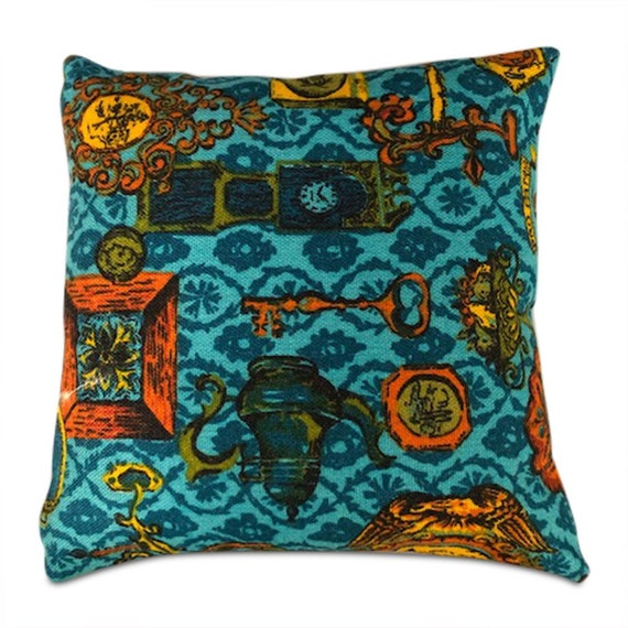 "Handmade square Spanish traditional teal orange canvas tweeted pillow 16"" x 16"" inches"