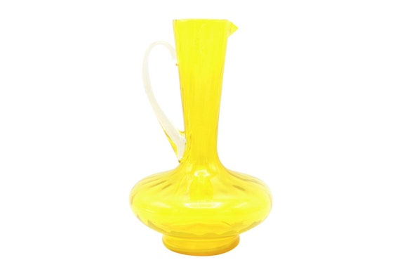 Mid century hand blown yellow glass vase/pitcher.