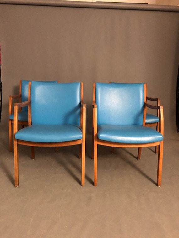 Mid-Century Dinning Chairs, Office Chairs Blue Vinyl (PAIR)