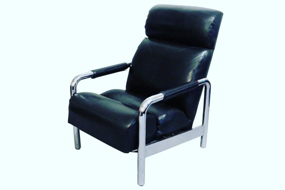 Mid-Century leather chrome recliner chair 1970's