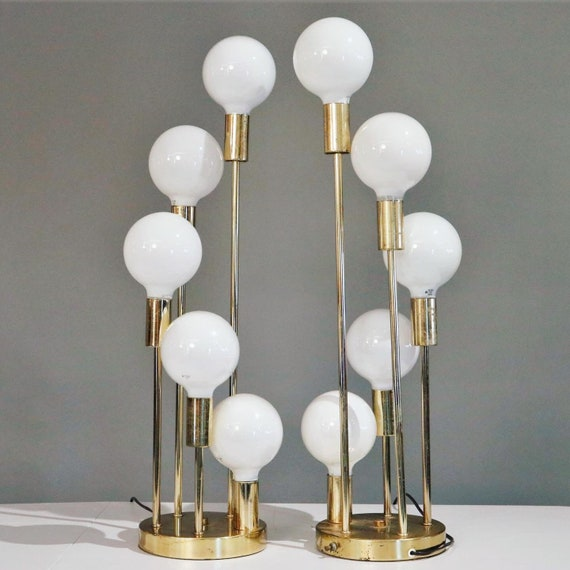 Hollywood Regency waterfall brass table lamps with 5 globes - PAIR