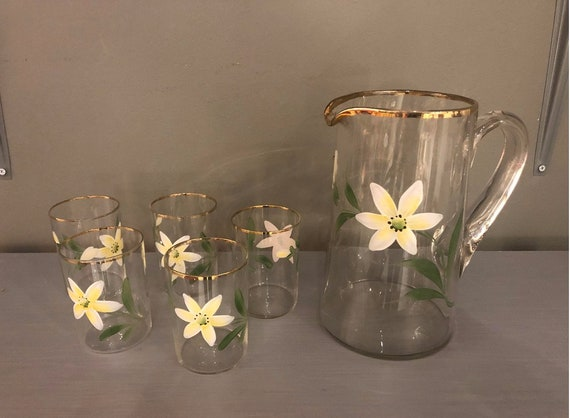 1970s Painted Flower Glass Pitcher & Glasses - Set of 6