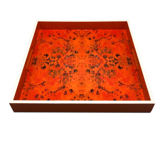 """Handmade contemporary lacquer wood tray titled: """"Orange Karma"""" designed by """"Magic Hill"""