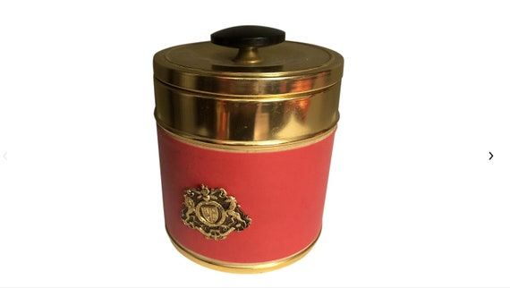 1970s Hollywood Regency Style Gold and Red Jar Box