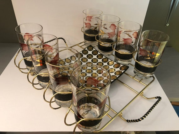 mid century glass & tray set with brass caddy