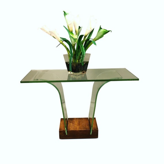 Art deco bent glass flower shape with beveled top and walnut base 1950s circa