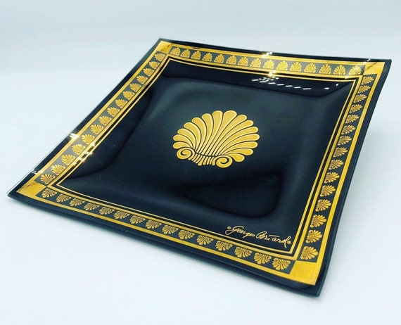 Mid century rare glass tray by George Briard black and gold