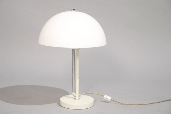 Mid century white chrome and metal desk lamp 1970's circa