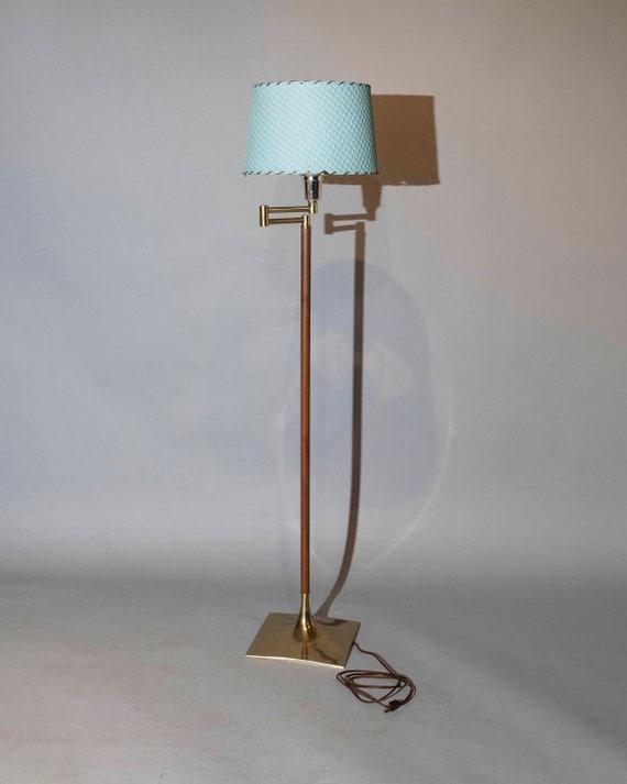 Mid-Century teak & brass floor lamp with blue shade 1960's Circa