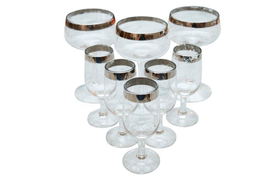 Mid-Century Clear Stamp Wine Glass With Silver Trim on the lip Set of 8.