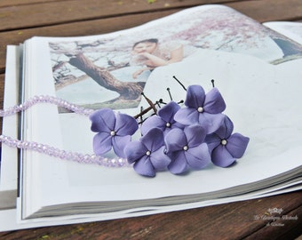 Hairpins , Hairpins with hydrangeas , Hairpins for bride, Bridal accessories , Hair accessories , Bridal hairstyle