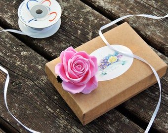 Clip with Rose, White rose, pink for hair, bridal hair accessories, bridal accessories, pink rose, clasp with Rose, clasp