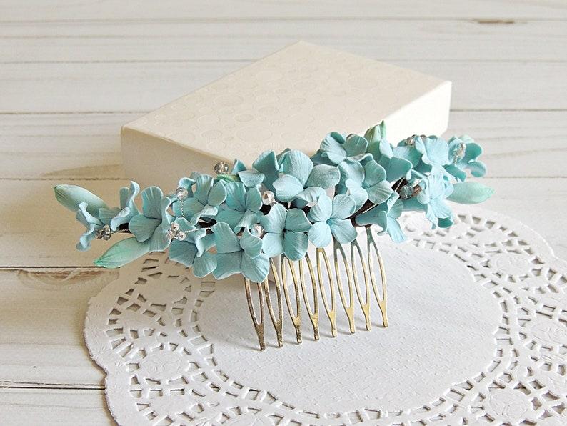 Light Blue Flowers for Bride Wedding Headpiece Wedding Hair Accessories Bridal Floral Hair Comb