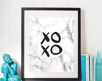 XOXO Marble, Printable, Marble Wall Art, Marble Print, XOXO Print, Fashion Print, Fashion Wall Art, Makeup Wall Art