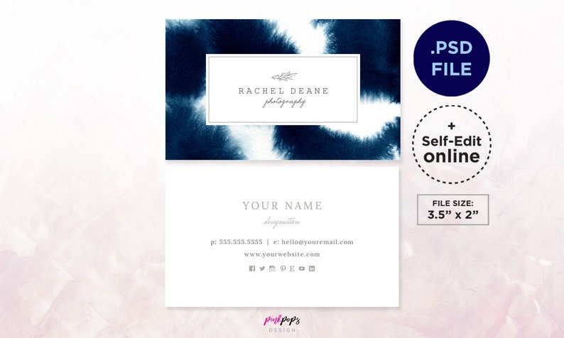 Navy Business Card Template Instant Download Psd Template Edit It Yourself Watercolor Business Card Photographer Business Card Design