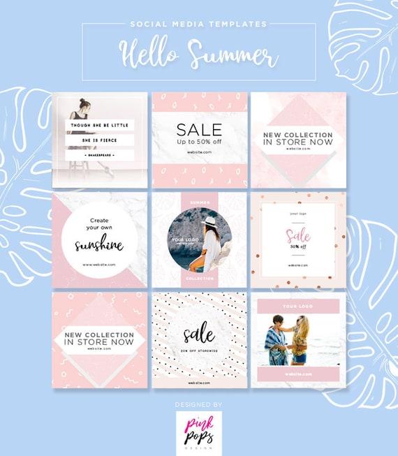 Social Media Templates Pack Summer Instagram Templates Post Etsy