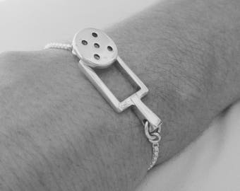 NEW Sterling Silver Pickleball Ball and Paddle Bracelet (Pbb3)