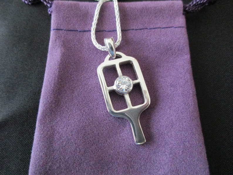 Gorgeous New Sterling Silver Pickleball Paddle with Clear CZ image 0