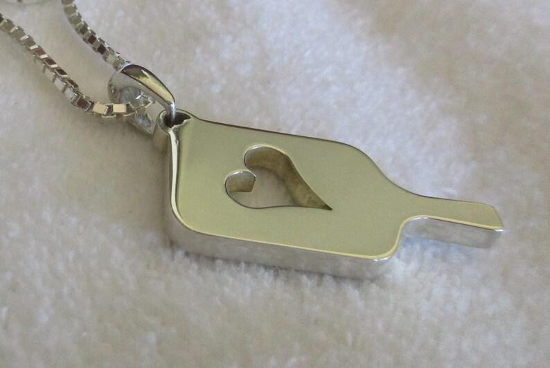Sterling Silver Mega Heart Pickleball Pendant Pb12-2h image 0