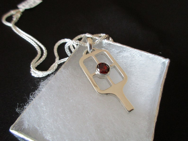 Exquisite Sterling Silver Pickleball Paddle with Garnet Stone image 0